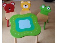 Kids work/play table with 3 character chairs