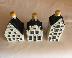 KLM Bols Delft Minature Collectible Houses 35, 65 , 76 sealed unopened mint