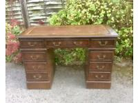 Antique Vintage Leather Top Pedestal Writing Desk