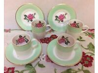 Vintage set of four China demitasse espresso small coffee cups and saucers