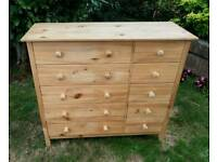 Real pine chest of drawers