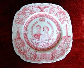 King George VI & Queen Elizabeth Visit to USA 1939 Plate Royal J Maddock & Sons