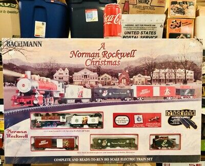 BACHMANN HO SCALE, A NORMAN ROCKWELL CHRISTMAS COMPLETE TRAIN SET FACTORY SEALED