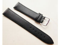 New Premium Quality Genuine Leather Plain Black 20mm Watch Straps with Silver Buckle.