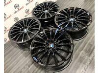 "GENUINE 18"" BMW G30 ALLOY WHEELS - 5 x 112 -GLOSS BLACK"