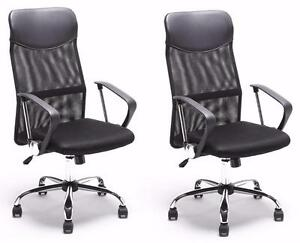 BRAND NEW LOT OF 2X HIGH BACK EXECUTIVE CHAIRS MESH DESIGN OFFICE BLACK