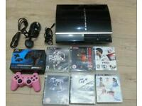 Play station 3 complete consoles with 2 joy pads and manual booklet and 6 games