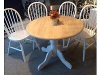 Beautiful shabby chic dining table and 4 chairs