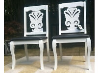 4 x New Regency Two tone White wood and Brown Leather Seating Dining Chairs