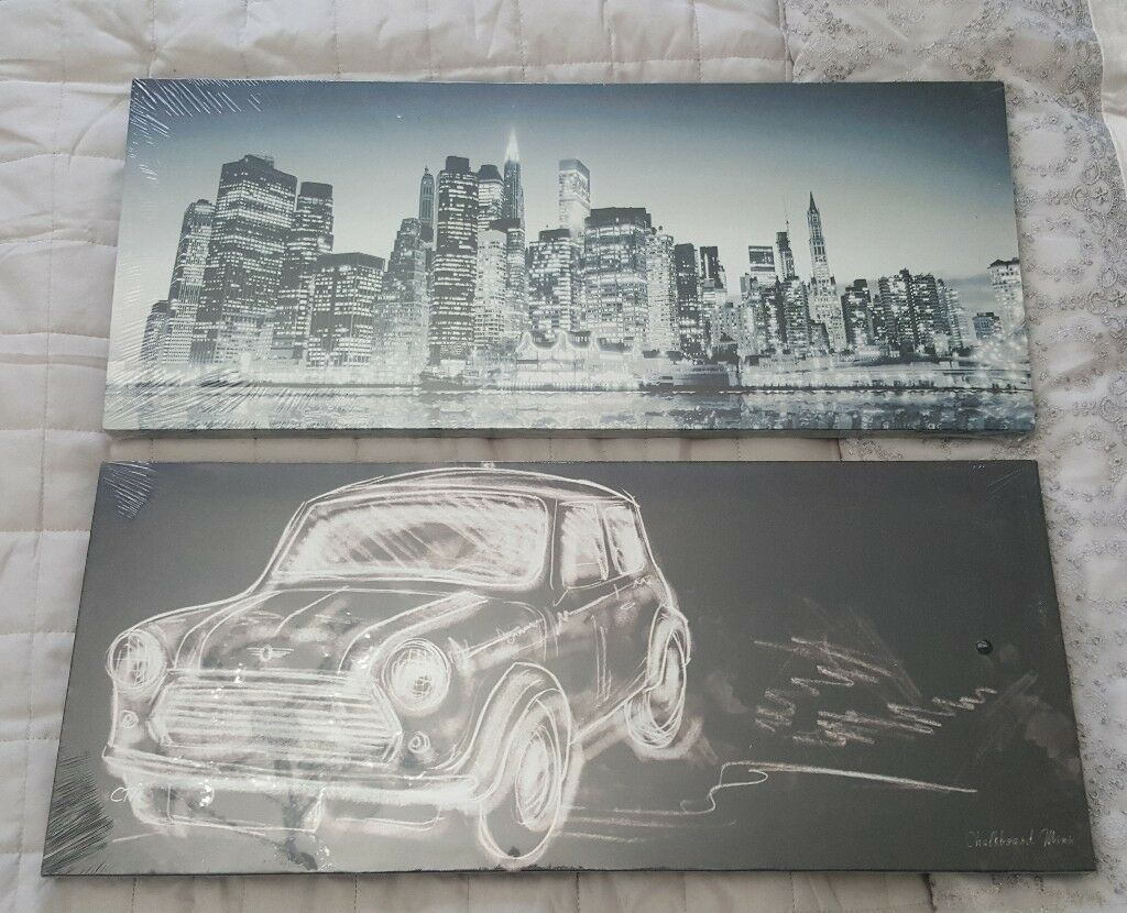 2 New Canvas Pictures - Mini Cooper and Cityscape