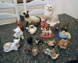 Collection of 17 Porcelain / Pottery Cats