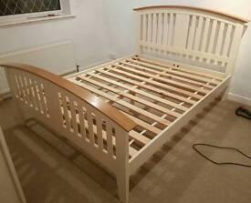 King-size cream bedframe