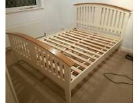 King-size cream bedframe
