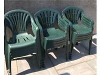 Garden Chairs x 12 green plastic
