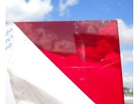 large sheet PERSPEX semi transparent CHERRY RED 100cm x 53cm