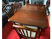 Solid Mahogany Wood Extendable Kitchen/Dining Table & 6 Bannister Chairs