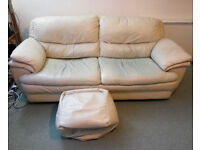 FREE Sofa; large 2 seater cream leather, very comfortable sofa