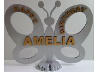 STANDING PERSONALISED BIRTHDAY BUTTERFLY in Shimmering Metallic SILVER and GOLD