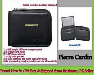PIERRE-CARDIN-Genuine-Leather-Mens-Women-Zip-Around-Wallet-note-ID-card-coin-box