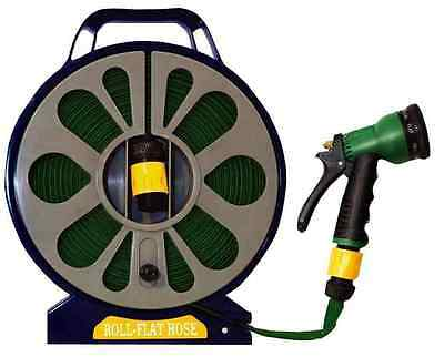 50FT 15M FLAT HOSE PIPE REEL WITH SPRAY NOZZLE GUN GARDEN OUTDOOR WATERING