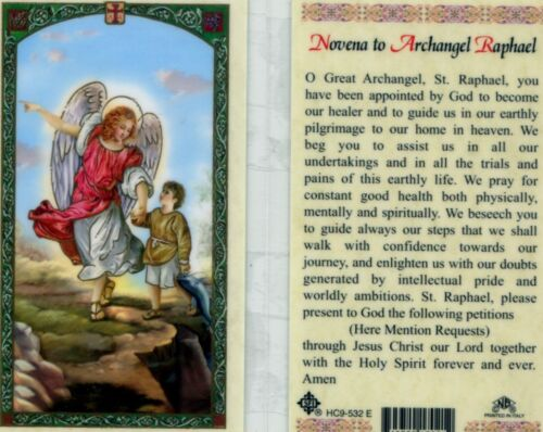 Novena to Archangel Raphael Prayer Card Our Healer and Guide Catholic Laminated