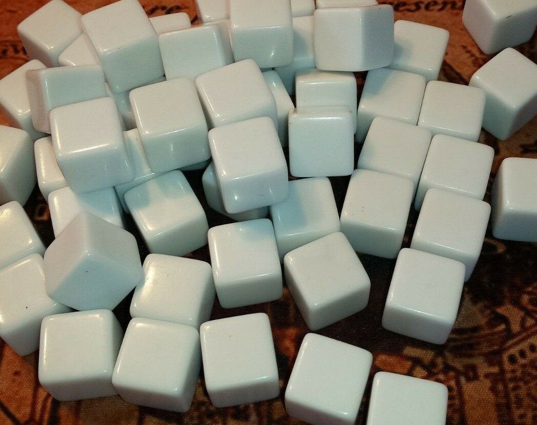 48 Blank White Dice, 16 mm Plastic Cubes, White Counting Cub