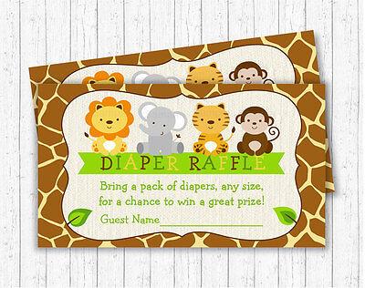 Cute Jungle Safari Animals Printable Baby Shower Diaper Raffle Tickets - Baby Shower Diaper Raffle