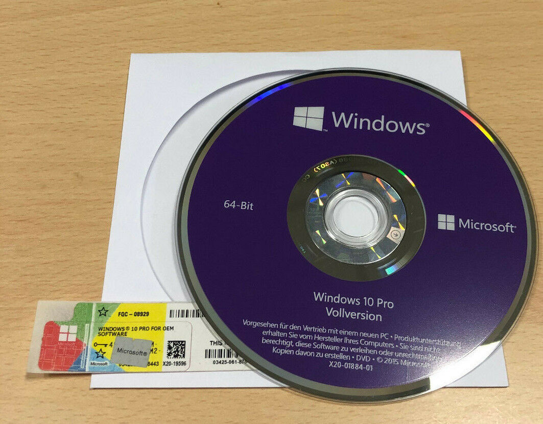 Microsoft Windows 10 Professional 64Bit Deutsch OEM-DVD Full Version
