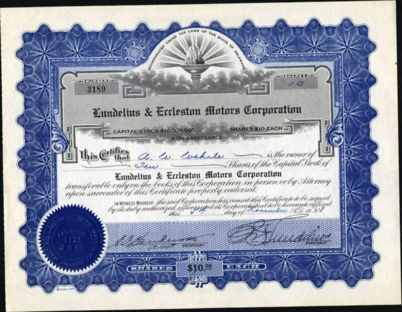LUNDELIUM & ECCLESTON MOTORS CORP, 1928, UNCANCELLED STOCK CERTIFICATE