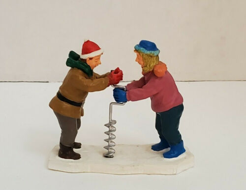 """Lemax Christmas Village Town Figures Drilling Ice Fishing Hole Catch Of Day 2"""""""