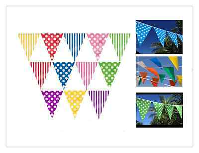 1x15FT Polka Dot/ Stripe Plastic Pennant Banner Bunting Decoration Party
