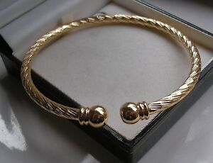 HEAVY SOLID 9ct GOLD TORQUE BANGLE BRACELET GF SELLING OUT FAST!!  53