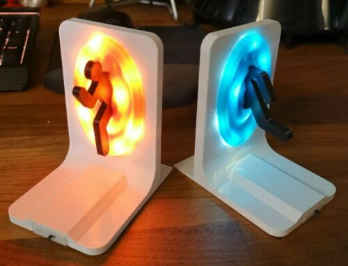 Portal Bookends LED Light Up Xbox PS4 PS5 Books / Games / DVD / Stand / Ornament