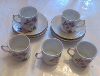 """6 sous tasses et 5 tasses « made in China """" Blumendekor """"  Nr 305»"""