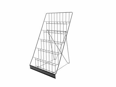 6-tiered Wire Display Rack For Tabletops Open Shelves With Header Black Rack