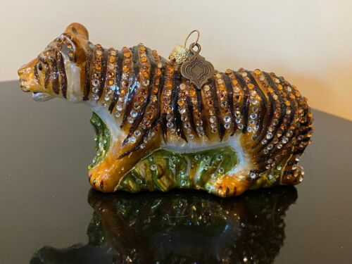 Jay Strongwater Stalking Tiger Ornament- New, no box, no tags