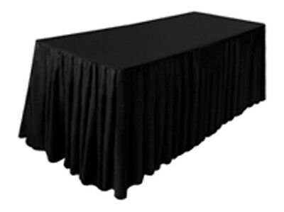 Tektrum 6' Ft Long Fitted Table DJ Jacket Skirt Cover For Trade Show (Black)