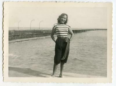 Gorgeous Fashion Girl Posing By The Water Vintage 1950s Photo