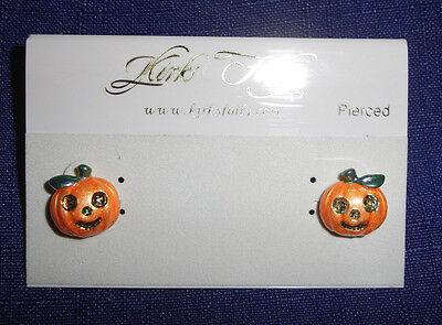 Happy Post Halloween (Kirks Folly Happy Pumpkin Post Stud Earrings For Pierced Ears-Halloween JOL)