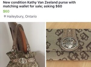 Two Kathy Van Zeeland purses & two wallets for sale; all for $90