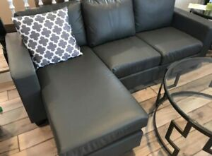 Brand new sectional leather like with arm chair reversible