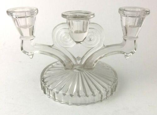 """Vintage Elegant Detailed Glass Art Deco Triple Candelabra Candle Holder 5"""" tall"""