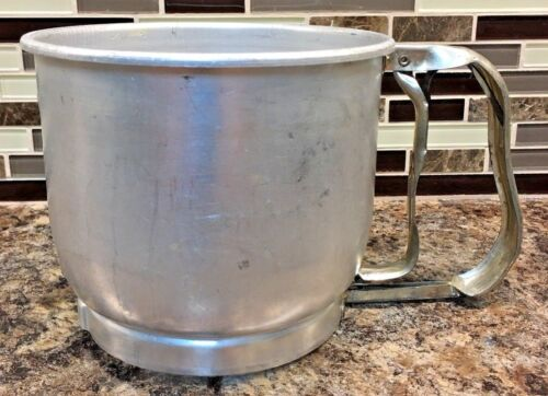 Vintage 1950s Foley 5 Cup Flour Sifter Kitchen Aluminum made in USA Works
