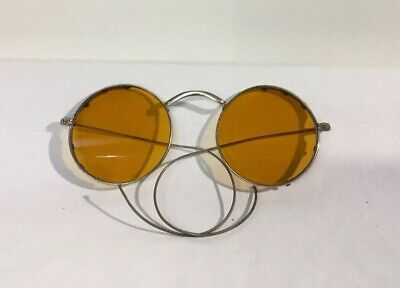 Vintage 1930's WILLSON safety glasses, Yellow Lenses, Steampunk goggles