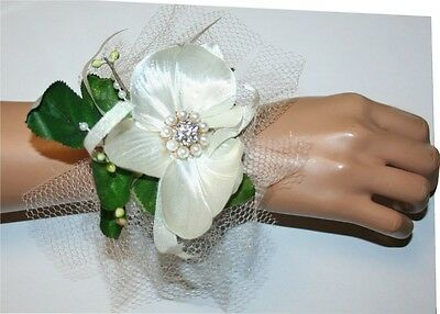 Prom, Wedding Accessories, White Orchid Flower Corsage, Flower Wristlet