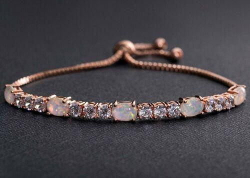 """Crystals & Fire Opal in Rose Gold Adjustable Tennis Bracelet for 6""""-9"""""""