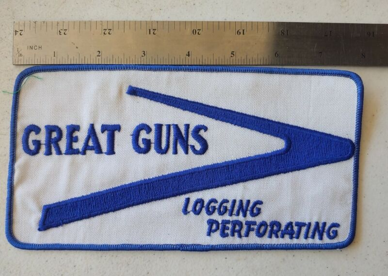 """Vintage Great Guns Logging Perferating Large Patch 8""""x 4"""" Embroidered"""
