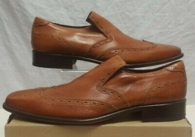 JEFFERY WEST BROWN LEATHER SLIP ON SHOES MADE IN ITALY SIZE 11 EUR 46 BRAND NEW