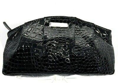 GIORGIO ARMANI Alligator EMBOSSED Black Patent LEATHER Clutch Hand Bag Cosmetic Alligator Embossed Patent Leather
