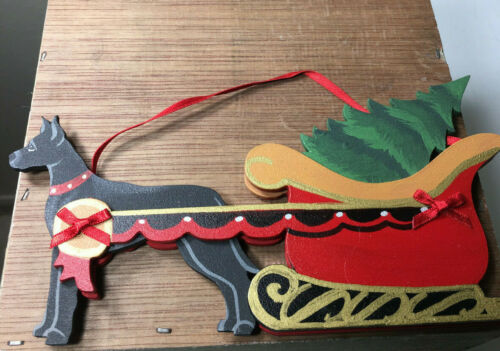New Dandy Design Cropped Black Great Dane Pulling Sleigh Christmas Ornament